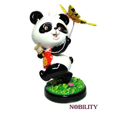 q版冷瓷小熊猫,活灵活现好可爱, 如果你也有这样的蝴蝶梦, 一定把我